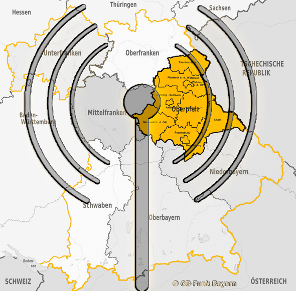 Einszugsgebiet von CBFunk Bayern